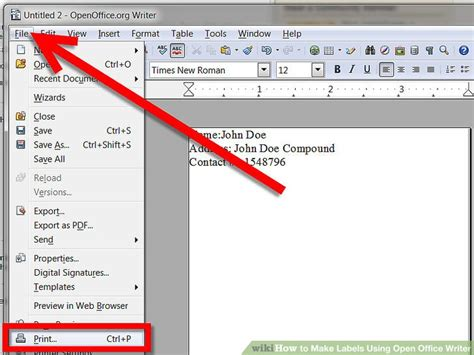 printing address labels with openoffice how to make labels using open office writer 9 steps