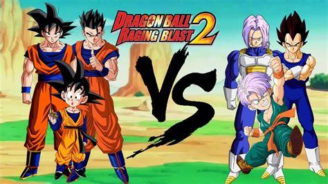 imagenes de la familia de goku dragon ball raging blast 2 familia goku vs familia vegeta
