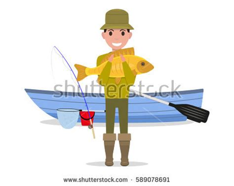 cartoon man in boat fishing man fishing on boat stock images royalty free images