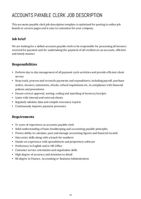 accounts payable description resume template sle