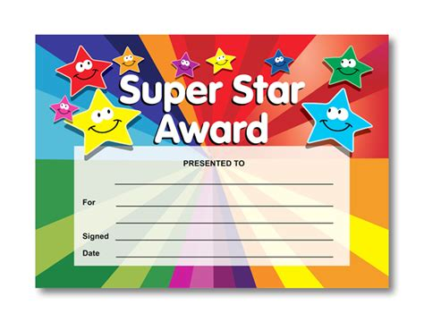 printable star awards super star award certificates