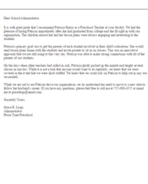 Recommendation Letter For Preschool Sle Recommendation Letters Letter Sles Livecareer