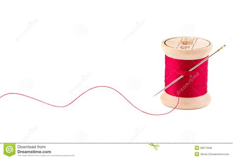 String With Needle And Thread - sewing thread and needle stock photo image of sewing