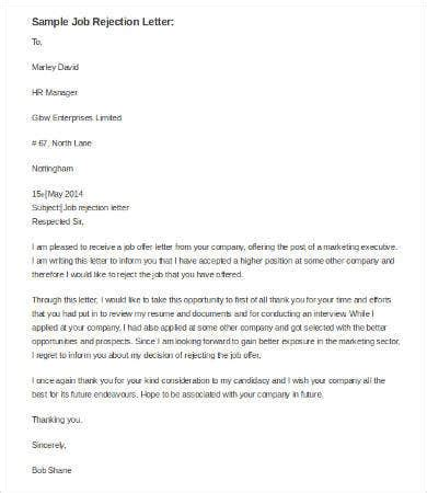 rejection letter word documents