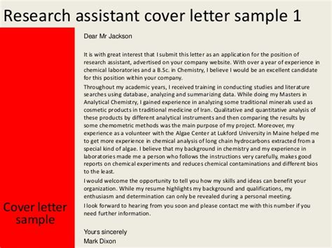 research position cover letter research assistant cover letter