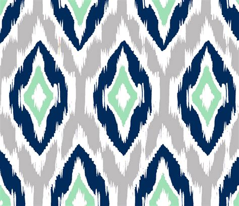 ikat pattern ikat fabric by the yard navy gray mint and white
