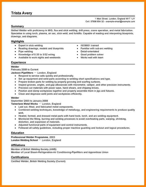 Pipefitter Resume by Pipefitter Resume Exle Resume Ideas