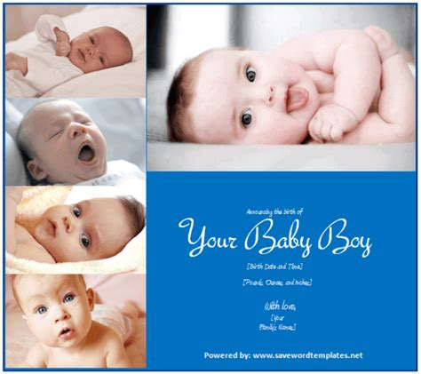 Last Option Baby Boy Birth Announcement Template