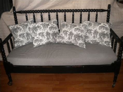 Repurpose Furniture Black Quot Crib Quot Bench With Toile Pillows Refurbished