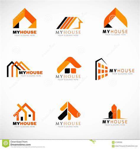 house logo design vector orange and black house logo set vector design stock vector