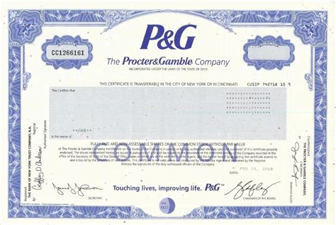 corporate bond certificate template procter gamble stock certificate