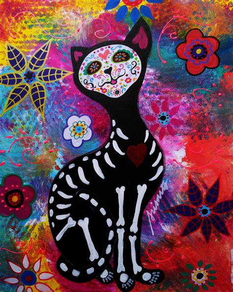 dead cat painting mexican folk day of the dead cat meow painting print