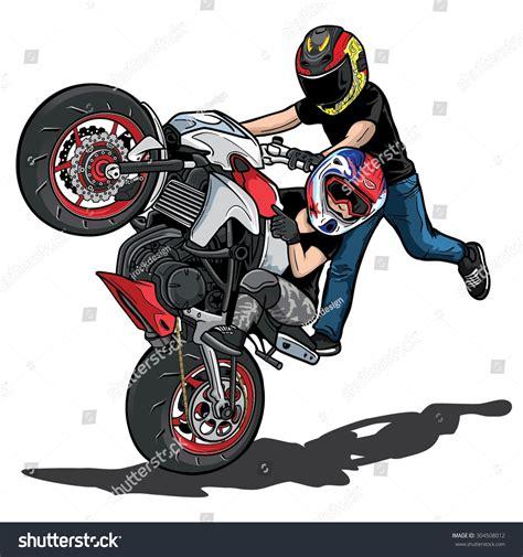 Cross Motorrad Wheelie by Stunt Bike Stock Vector 304508012