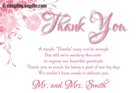 Thank You Card Wedding Gift - wedding thank you card wording sles easyday