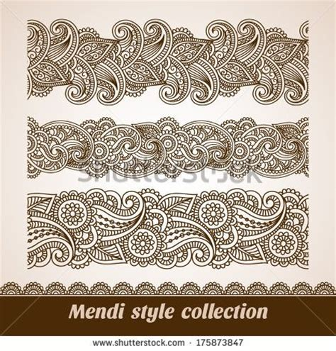 feathers mehndi style vector designs set vector henna vector set of floral pattern seamless borders indian