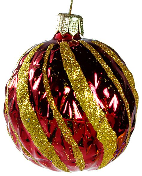 red twist glass christmas ball ornament traditional