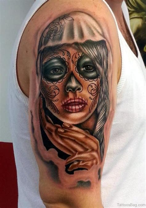 day of the dead girl tattoos 67 stunning portrait tattoos on shoulder