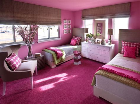 hot pink bedroom ideas shared girls bedroom framing hot pink headboards