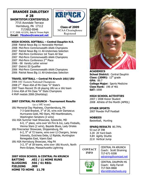 softball player card template softball profile sle player profile central
