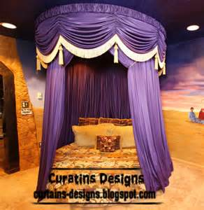Canopy Bed Curtains Purple Curtain Designs