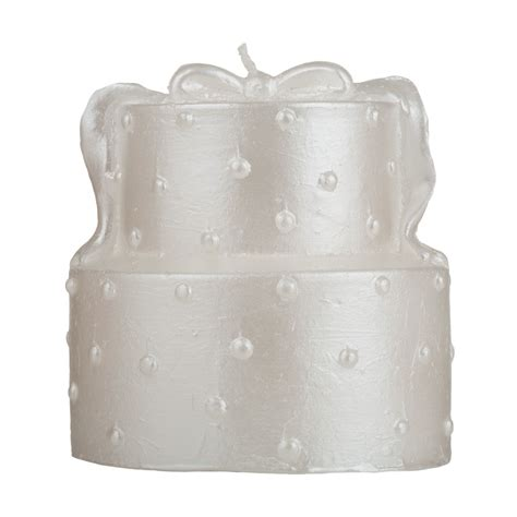Wedding Cake Candle by Two Tier White Wedding Cake Candle Pearl Decorated Two