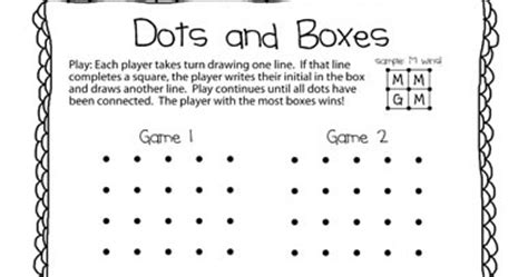 dot to dot box game printable the puzzle den dots and boxes freebie