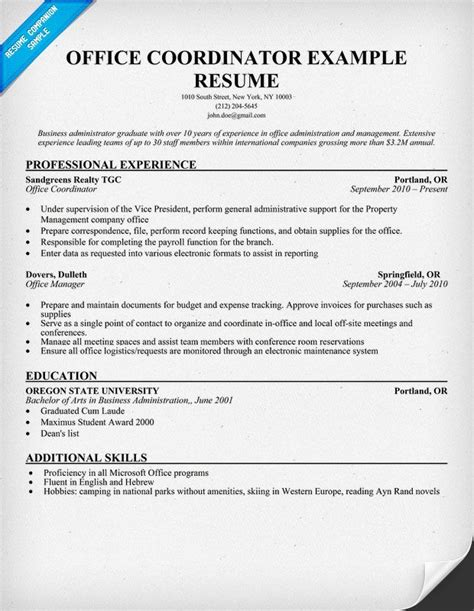 resume templates format for office coordinator manager sle resume office coordinator