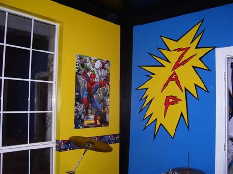 comic book bedroom boys room with a bright