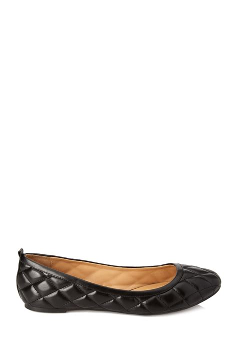forever 21 flat shoes forever 21 quilted ballet flats in black lyst