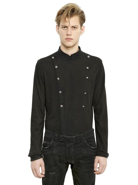 Breasted Shirt balmain breasted cotton jersey shirt in black for