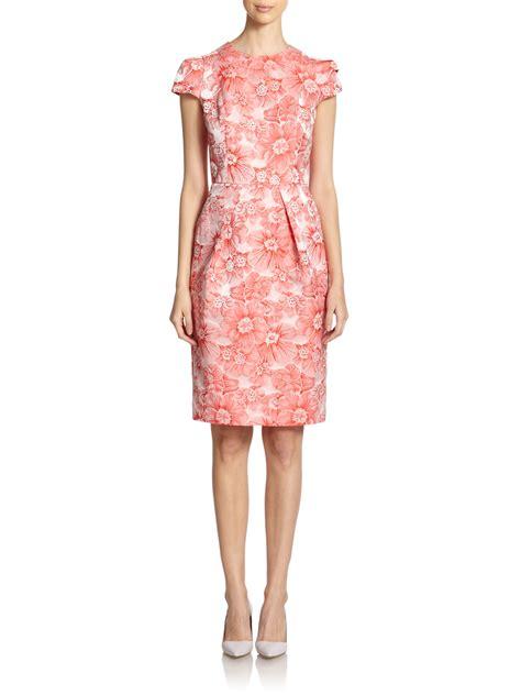 Brocade Flower Dress Mini Dress marc valvo floral print brocade cocktail dress in pink lyst