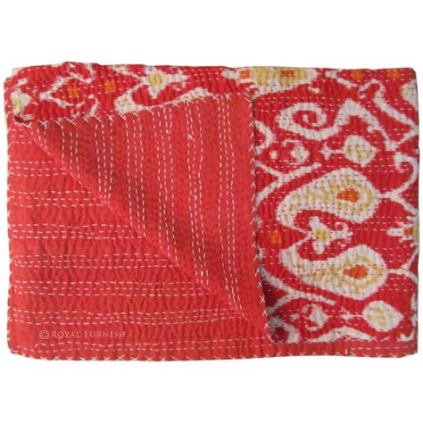 twin bed blanket size red twin size ikat paisley kantha quilt blanket bedding
