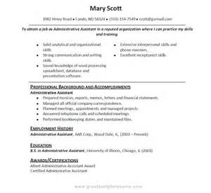 resume sles for administrative doc 463599 resume for administrative assistant best