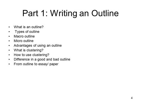 What Is An Outline In An Essay by Part 1 Writing An Outline And Part 2 Using A Dictionary Ppt