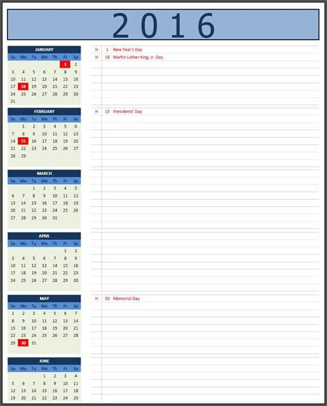Excel Calendar 2016 2016 Calendars Excel Calendars