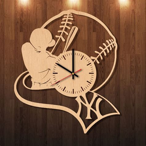 Wall Handmade - new york yankees handmade wood wall clock