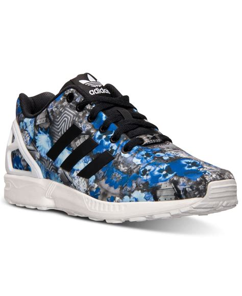 Sepatu Sneakers Adidas Originals Run Black lyst adidas originals s zx flux floral print running sneakers from finish line in blue for