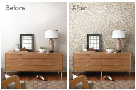 before and after decor before after room makeovers with wallpaper brewster home
