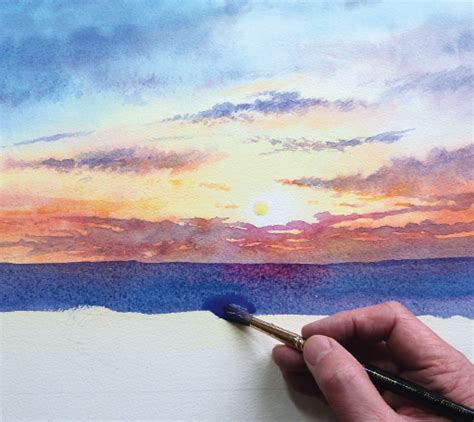 watercolor river tutorial how to paint a sunrise and sunset watercolor jd art 10