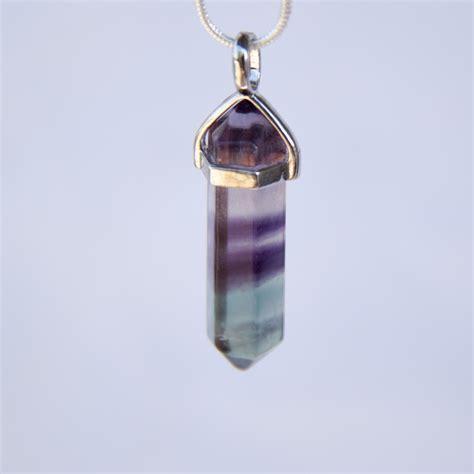 rainbow fluorite pendant gemstone point