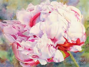 White Peonies Flowers - peony painting by dorothy boyer