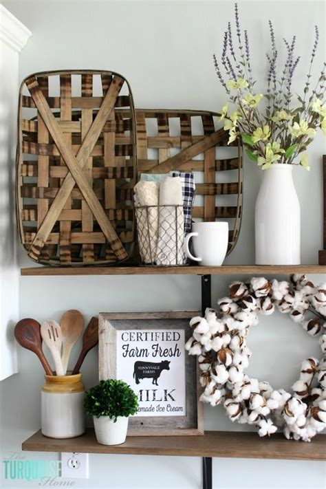 farmhouse decor gift basket diy farmhouse shelves decor tobacco baskets cotton stems 2 home ideas tobacco