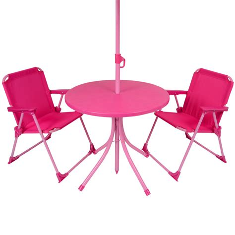 pink patio furniture 4pc garden patio furniture set pink table parasol folding cing chairs ebay