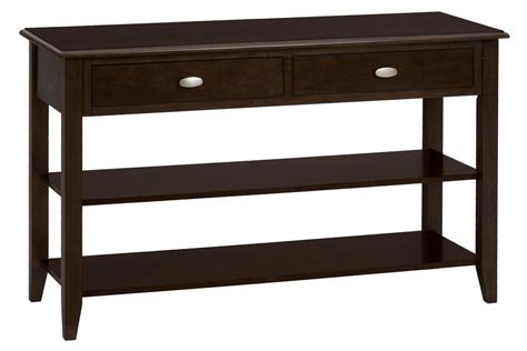 merlot sofa table with shelves