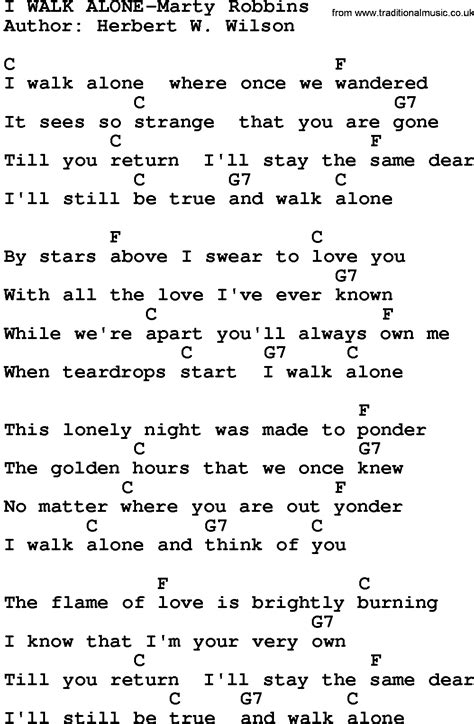 country i walk alone marty robbins lyrics and chords