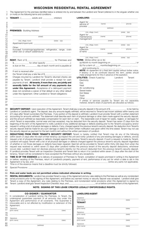 Free Wisconsin Standard Residential Lease Agreement Template Pdf Eforms Free Fillable Forms Wisconsin Rental Lease Agreement Template