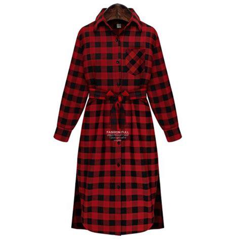 Plaid Combi Plus Tshirt autumn plaid dress fashion brand new sleeve lapel t shirt dress plus size clothing