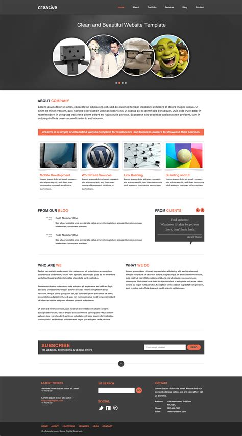 free sle templates for website design free business portfolio website psd template creative