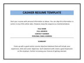 Resume Cashier Objective by Cashier Resume Template Pdf