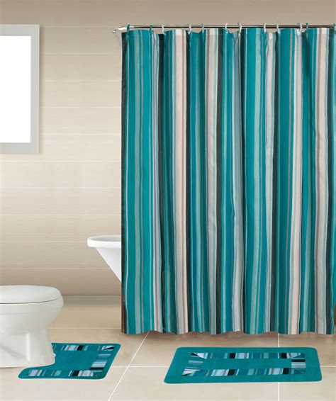 Bathroom Curtain And Rug Sets Home Dynamix Bath Boutique Shower Curtain And Bath Rug Set Bq05 Stripes Blue Shower Curtain